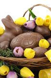 复活节鸡蛋和小兔巧克力篮  库存图片