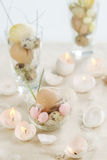 复活节鸡蛋蜡烛 库存图片