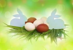 复活节 兔子和五颜六色的鸡蛋在草 图库摄影