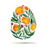 复活节贺卡或邀请的模板 复活节快乐!水彩花郁金香鸡蛋