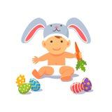 复活节婴孩 兔子帽子的儿童小孩 免版税库存图片