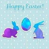复活节水彩背景和无缝的样式用鸡蛋,兔子,鸟,心脏,蝴蝶 免版税库存图片