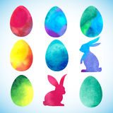 复活节水彩背景用鸡蛋 免版税图库摄影