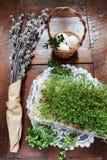 复活节结构的柔荑花、鸡蛋和水芹在木桌上 免版税库存照片