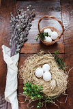 复活节结构的柔荑花和鸡蛋在木桌上 库存图片