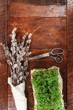 复活节结构的水芹和柔荑花在木桌上 库存照片
