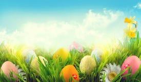 复活节 美丽的五颜六色的鸡蛋在春天草草甸 库存图片