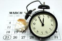 夏令时春天向前星期天在1:00 a M 免版税库存照片