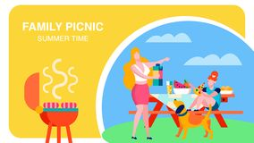 夏令时烤肉聚会平的横幅模板 库存例证