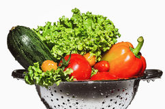 夏南瓜、莴苣、甜椒和蕃茄在滤锅 库存照片
