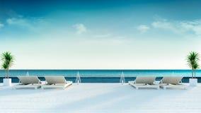 夏天、太阳懒人在晒日光浴的甲板和私有游泳池有全景海视图在豪华villa/3d翻译 向量例证