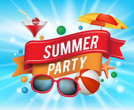 夏天与五颜六色的元素的党海报