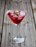 夏天与冰和薄菏的马蒂尼鸡尾酒饮料在木 免版税库存照片