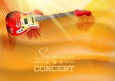 夏天与吉他和日落的音乐会背景 免版税库存图片
