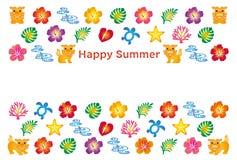 夏天与日本人Bingata象的贺卡 免版税库存照片