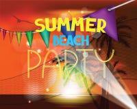 夏天与日落海滩风景棕榈树和排球网的传染媒介例证 夏天海滩党 免版税图库摄影