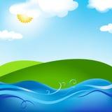 夏天与星期日草甸和海运的本质图象 向量例证