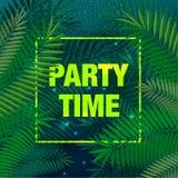 夏天与棕榈叶和字法,传染媒介例证的党海报 库存图片