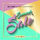 夏天与热带棕榈leaves_9的销售背景 免版税库存图片