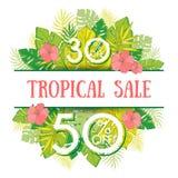 夏天与热带棕榈leaves_1的销售背景 免版税库存图片