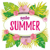 夏天与热带棕榈leaves_3的销售背景 库存图片