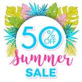 夏天与热带棕榈leaves_4的销售背景 库存图片