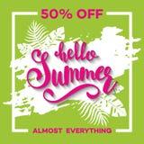 夏天与热带棕榈leaves_6的销售背景 免版税库存照片