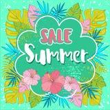 夏天与热带棕榈leaves_2的销售背景 库存照片