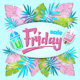 夏天与热带棕榈leaves_7的销售背景 免版税库存图片