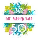 夏天与热带棕榈leaves_13的销售背景 库存图片