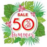 夏天与热带棕榈leaves_12的销售背景 免版税库存图片