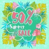 夏天与热带棕榈leaves_14的销售背景 免版税库存照片