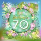 夏天与热带棕榈leaves_17的销售背景 免版税图库摄影