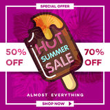 夏天与热带棕榈leaves_27的销售背景 免版税库存照片