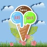 夏天与热带棕榈leaves_23的销售背景 免版税库存照片
