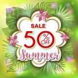 夏天与热带棕榈leaves_25的销售背景 免版税库存照片