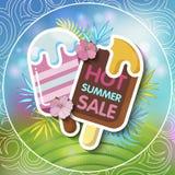 夏天与热带棕榈leaves_24的销售背景 库存图片