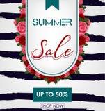 夏天与热带花的销售背景 50% 向量例证