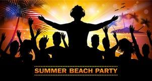 夏天与舞蹈剪影的海滩党 库存例证