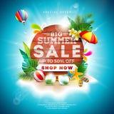 夏天与花和海滩假日元素的销售设计在蓝色背景 热带花卉传染媒介例证与 向量例证