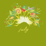 夏天与花和莓果的7月字法 免版税库存图片