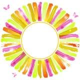 夏天与蝴蝶的水彩框架 免版税库存照片