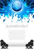 夏天与Discoball的音乐背景-传染媒介 免版税库存图片
