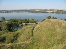 夏天乌克兰德聂伯级河 免版税库存图片