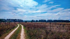 夏天乡下公路和领域在蓝色美丽的多云天空的背景和美好的森林距离  免版税库存图片