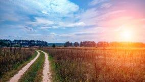 夏天乡下公路和领域在蓝色美丽的多云天空的背景和美好的森林距离  免版税图库摄影