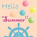 夏天传染媒介与文本和五颜六色的伞的横幅设计 免版税图库摄影