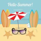 夏天例证,冲浪在海洋海滩 免版税库存照片