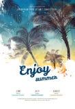 夏天党海报或飞行物与棕榈树剪影的设计模板 现代样式 皇族释放例证
