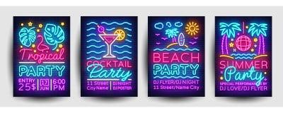 夏天党海报汇集氖传染媒介 夏天党设计模板,明亮的霓虹小册子,现代趋向设计 皇族释放例证